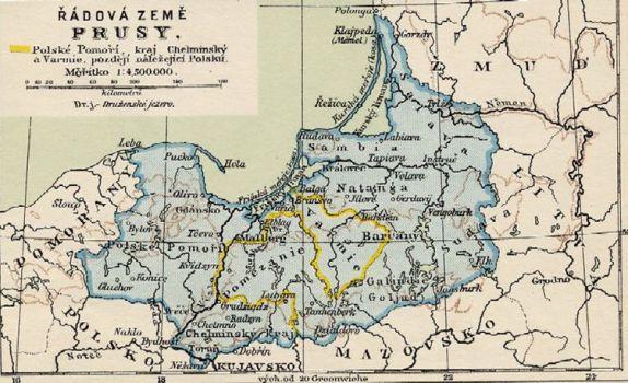 Mapa řádové země Prusy
